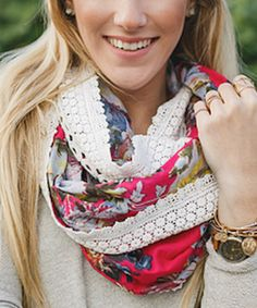 Love this Red & Cream Floral Crochet-Accent Scarf by Three Bird Nest on #zulily! #zulilyfinds