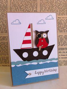 Ahoy, ihr Piraten! Diese Karte habe ich vor einiger Zeit in ähnlicher Bauart bei Pinterest gefunden und sofort gedacht, dass ich sie mal na... Birthday Cards For Boys, Masculine Birthday Cards, Masculine Cards, Happy Birthday, Boy Cards, Kids Cards, Owl Punch Cards, Owl Card, Ahoy Matey