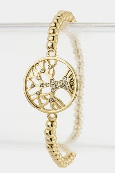 Tree of Life Beaded Bracelet (Gold Tone) $17.00