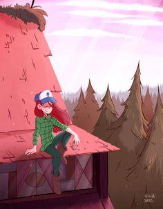Memories on the roof. Gravity Falls Anime, Gravity Falls Fan Art, Friend Zone, Gravity Falls Personajes, Monster Falls, Dipper Y Mabel, Avengers Room, Wendy Corduroy, Gavity Falls