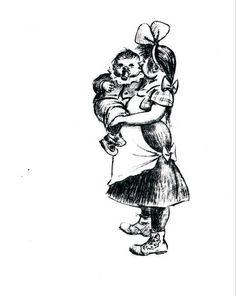 heinrich zille   Heinrich Zille – Stehendes Mädchen mit Kind auf dem Arm