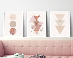 Set of 3 Prints, Printable Art, Minimalist Poster, Geometric Print, Scandinavian Art, Scandi, Copper, Pink, Scandinavian Print, Print Set THESE ARE INSTANT DOWNLOADS – Your files will be available instantly after purchase. :::: Please note that this is a digital download ONLY,