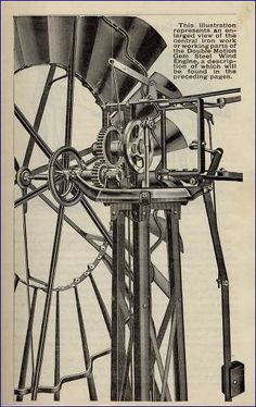 The first all steel windmill and tower produced in America by the U.S. Wind Engine & Pump Co. Designed by famous windmill engineer and designer, Thomas O. Perry.