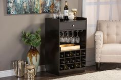 Baxton Studio Oscar Modern and Contemporary Dark Brown Wood Modern Dry Bar and Wine Cabinet Image 4 of 4 Bar Furniture, Furniture Deals, Online Furniture, Wine Rack Storage, Extra Storage, Wine Shelves, Brown Wood, Dark Brown, Dark Wood
