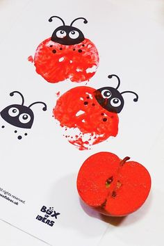 insect art Preschool Bug Crafts is part of Best Preschool Bugs Crafts Images In Crafts For - Red Stamped Ladybugs for Bugs and Nature Simple Stamping Art activity for Preschool Kids using Apples preschool crafts apples stamped Fall Crafts For Kids, Spring Crafts, Art For Kids, Diy Kids Crafts, Fall Crafts For Toddlers, Garden Crafts For Kids, Autumn Crafts, Easter Crafts, Craft Ideas