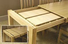 Something like this concept for the table in the kitchen; extendable to reveal leaves that can be added on for length.