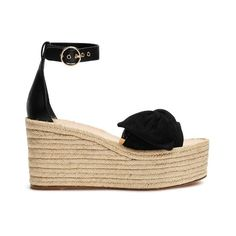 Valentino Tropical Bow suede wedge sandals (1.700.090 COP) ❤ liked on Polyvore featuring shoes, sandals, black, espadrille wedge sandals, platform wedge sandals, black wedge shoes, high heel wedge sandals and wedge sandals