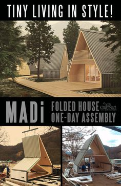This tiny home can be assembled in one day! One single module of roughly 300 SQ … This tiny home can be assembled in one day! One single module of roughly 300 SQ FT can easily be extended to 600 SQ FT and beyond. Tiny House Cabin, Tiny House Living, Tiny House Design, Small House Plans, Off Grid Tiny House, A Frame Cabin, A Frame House, Tiny Spaces, Little Houses