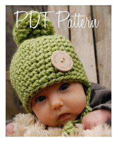 This is a listing for The PATTERN ONLY for The Baby Railynn Hat  This hat is handcrafted and designed with comfort and warmth in mind... Perfect