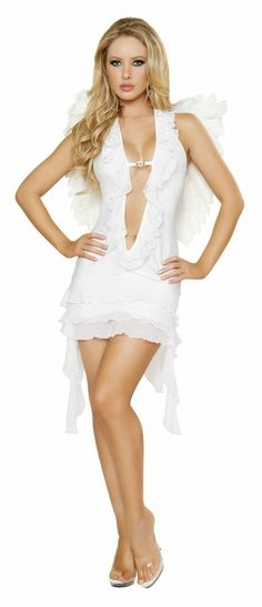 Roma 1PC Sexy Angelic Maiden Angel Adult Halloween Costume W/WO WINGS S/M M/L  #Roma #Dress