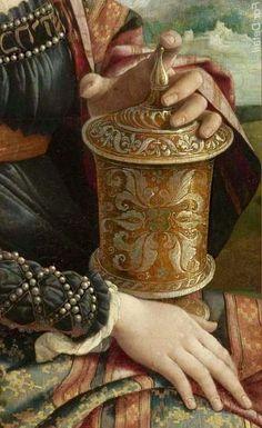 """Mary Magdalene"" (detail) Circa 1530 -- Jan van Scorel -- Dutch -- Oil on panel… Old Paintings, Beautiful Paintings, Robert Campin, Mode Renaissance, Renaissance Jewelry, Marie Madeleine, Biblical Art, Mary Magdalene, Antique Paint"