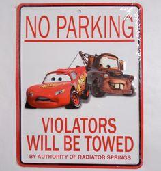Disney Cars No Parking Sign Pixar Wall Hanging Disneyland Parks 11 x 8