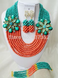 bridal wedding jewelry on sale at reasonable prices, buy Brand Laanc Cyan Blue Coral Color Stone African Beads Bridal Wedding Jewelry Sets from mobile site on Aliexpress Now! China Jewelry, Coral Jewelry, Beaded Jewelry, Beaded Necklace, Orange And Turquoise, Teal Green, Turquoise Beads, Diy Store, Jewelry Making Tools