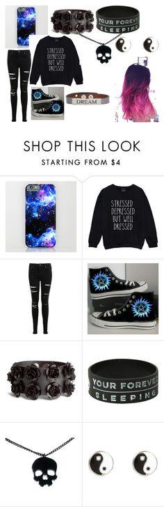 """School"" by razer-brennan ❤ liked on Polyvore featuring Miss Selfridge, Converse, H&M, River Island and Good Work(s)"