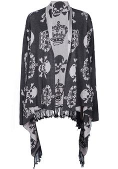 Grey Long Sleeve Imperial Crown Skull Pattern Tassel Cardigan