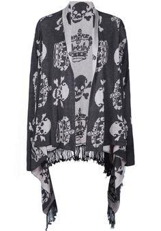 Grey Long Sleeve Imperial Crown Skull Pattern Tassel Cardigan