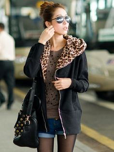 Zanzea Leopard Hooded Zipper Coat