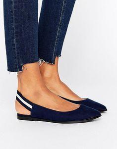 ASOS New Look Elastic Stripe Slingback Shoe