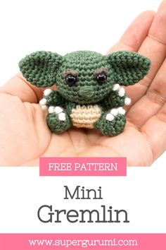 Free Gremlin Crochet Pattern by Supergurumi. This cute Gremlin is easy to crochet with a step by step description and many pictures. Click the link to view the free pattern. #amigurumi #crochet #crochetpattern #gremlin #crochetgremlin Crochet Bear, Crochet Animals, Free Crochet, Crochet Stitches, Crochet Hooks, Amigurumi Patterns, Crochet Patterns, What Is Cute, Halloween Crochet
