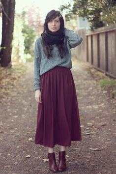gray sweater + scarf + burgundy skirt + booties