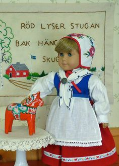 American Girl, 18 inch doll clothes: Kirsten's Swedish folk dress with hat, scarf, apron, and hand-made shoes.