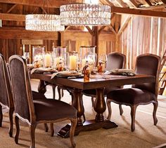 Adeline Crystal Chandelier | Pottery Barn - Love the idea of hanging multiple chandeliers over formal dining table. Really pretty, modern, but glitzy.