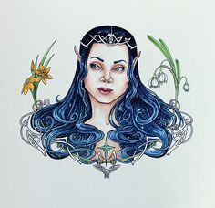 'Elanor and Niphredil - A Portrait of Arwen Undómiel.' Illustrated by Jayde Hilliard. Created for the Changeling Artist Collective September Auction. Tolkien themed 'There and Back Again' 9/12/2016-9/16/2016 www.changelingartistcollective.com www.jaydehilliard.com