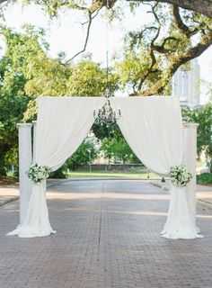 13. #Elegant Drapes and #Chandelier - 53 #Wedding #Arches, Arbors and #Backdrops ... → Wedding #Hawaiian