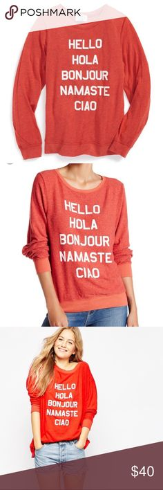 "Wildfox Say Hello Jumper Adorable authentic Wildfox ""say hello"" classic sweater wildfox jumper. In good condition - some of the letters are cracking & the sweater has classic Wildfox pilling (see pix). The color is most like the first two stock photos and my photos. 47% rayon, 47% Polyester, 6% spandex.   No trades Wildfox Sweaters Crew & Scoop Necks"