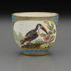 Sèvres Porcelain Manufactory, French Painted by: Antoine-Joseph Chappuis (active 1756−1787) Cup from a Tea Service (one of eleven pieces), 1767 Soft-paste porcelain 2 3/8 x 3 11/16 x 2 7/8 in. (6 x 9.4 x 7.3 cm) Henry Clay Frick Bequest Accession number: 1918.9.26 #bleucéleste #golddots #chapuis #birds #teaservice #Sèvres #porcelain