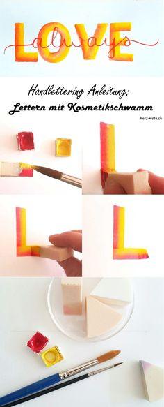 Diese Handlettering Anleitung zeigt dir, wie du ganz einfach mit einem Kosmetikschwamm lettern kannst. Es braucht nicht immer normale Stifte um zu lettern.