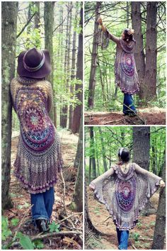 12 Free Crochet Patterns for Circular Vest Jacket – 101 CrochetCrochet Mandala Duster Jacket Patterns, some with hoodsthese 12 crochet circular vest jacket patterns that are all inspired of bohemian fashion! These free crochet patterns for jacket w Black Crochet Dress, Crochet Jacket, Crochet Cardigan, Knit Or Crochet, Crochet Shawl, Crochet Stitches, Free Crochet, Crochet Vests, Crotchet