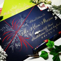 Phyllis Macaluso from Envelope Lettering, Calligraphy Envelope, Envelope Art, Typography Letters, Mail Art Envelopes, Wedding Envelopes, Decorated Envelopes, Handmade Envelopes, Christmas Mail