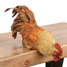 Tan Shelf-Roosting Rooster Statue | Kirklands