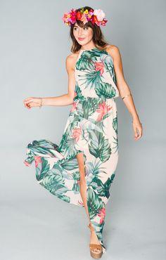 Heather Halter Dress ~ Kauai Kisses ~ Show Me Your Mumu Luau Outfits, Party Outfits For Women, Hawaii Outfits, Summer Outfits, Hawaiian Party Outfit, Hawaiian Luau, Mumu Wedding, Tropical Dress, Boho Fashion