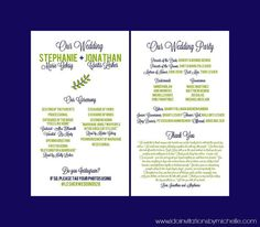 Modern Wedding Program ~ Two-Sided in ANY color