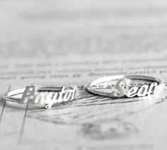 Initial name ring Handwriting font - Sterling silver