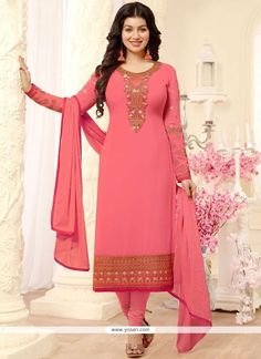 Ayesha Takia Pink Georgette Churidar Salwar Suit 116781 Best Indian salware suits Click Visit link for more details Dress Indian Style, Indian Dresses, Indian Outfits, Salwar Kameez Neck Designs, Latest Salwar Suit Designs, Salwar Dress, Churidar Suits, Designer Suits Online, Designer Dresses