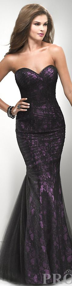 Pretty Purple & Black Lace Gown by Flirt... Dream bridesmaid dress to match Jess dress. Moh