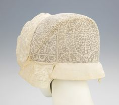 Cap.  Date: 1830–50. Culture: Slovak. Medium: linen. Dimensions: 6 1/4 x 15 1/2 in. (15.9 x 39.4 cm).