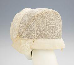 Cap.  Date: 1830–50. Culture: Slovak. Medium: linen. Dimensions: 6 1/4 x 15 1/2 in. (15.9 x 39.4 cm).