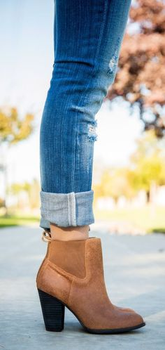 Ankle Boots and Rolled up Jeans.