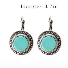 Amazon.com:$8.99 Ginasy Silver Plated Round Turquoise Drop Earrings (ER-10052)…