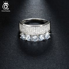 ORSA JEWELS Luxury Silver Rings for Women Micro Paved AAA Austrian Cubic Zircon Fashion Engagement Gift OR112