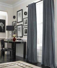 Idée déco pour un bureau : le rideau occultant gris au tombé très élégant ! #surmesure #rideau #curtain #occultant #gris #grey #ideedeco #deco #storesdiscount