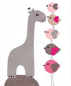 Pink  Nursery wall art kids room baby nursery children art giraffe wall art print Pink gray baby gift nursery gift grey gray pink love