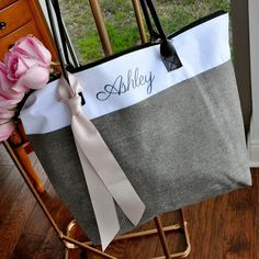 "***THIS LISTING IS FOR PRE-ORDERING ONLY*** Color options will be available to ship as follows:Heathered Navy… April 19thHeathered Camel… April 25thHeathered Gray… May 7th   Our Confetti Momma ""Personalized Bridesmaid Gift Bags"" can be such an adorable way to thank your bridesmaids for their love and support on your"
