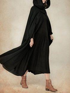 Manteau pour femmes Casual Solid Hoodie Cape Manches Poncho Manteau