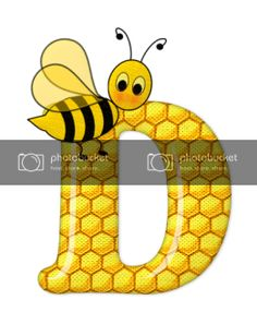 Alfabeto de abeja sobre letras de panal. - Oh my Alfabetos! Scrapbook Letters, Bumble Bee Birthday, Spelling Bee, Bee Party, Alphabet And Numbers, Alphabet Letters, Bee Design, Bee Theme, Letter Art