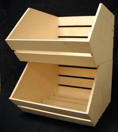 Stacking 'vegetable' crates for children's toy storage. These can be painted fun colors to brighten up a room, or left as raw wood. You might find them at a local crafting store for a pretty decent price.